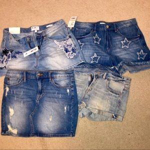 Size 28 shorts + 1 denim skirt.